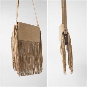 NWT Zara Fringe Tan Suede Crossbody Bag